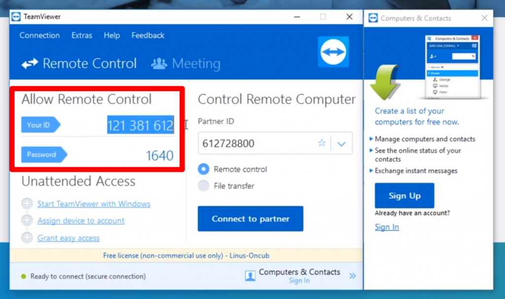 how to send a teamviewer install